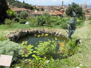 This is a playful pond ornament in a garden near Florence.